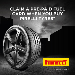 Claim a pre-paid fuel card when you buy 2 or more Pirelli tyres online.