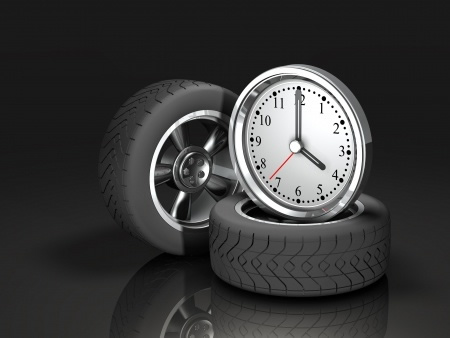 A clock and two tyres